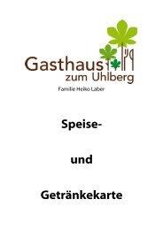 Speise- und Getränkekarte - Gasthaus zum Uhlberg