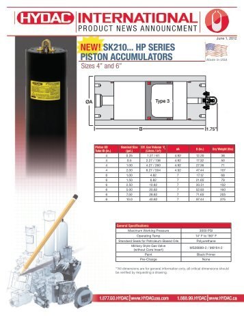 NEW! SK210... HP SERIES PISTON ACCUMULATORS - HYDAC USA