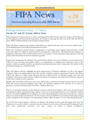 Newsletter - Invest in Tunisia, The Foreign Investment Promotion ...