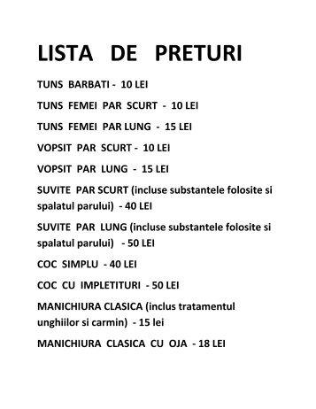 LISTA DE PRETURI - Lacartes