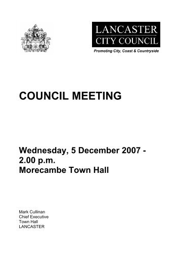COUNCIL MEETING - Meetings, agenda and minutes - Lancaster ...