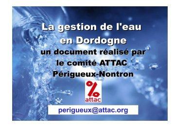 La gestion de l'eau en Dordogne - Contacter un comité local d'Attac