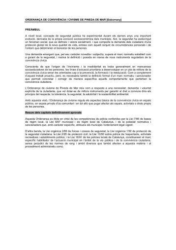 ORDENANÇA DE CONVIVÈNCIA I CIVISME DE PINEDA DE MAR ...