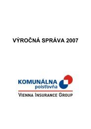 VÝROČNÁ SPRÁVA 2007 - Komunálna Poisťovňa