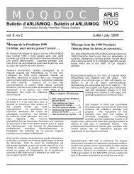 Vol. 9, no. 2 (juillet/July 2000) - arlis/na moq