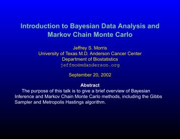 Introduction to Bayesian Data Analysis and Markov Chain Monte Carlo