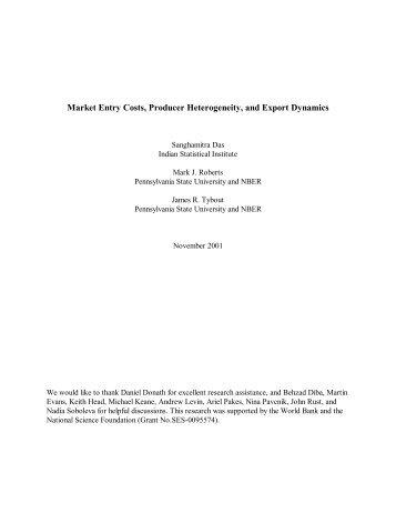 Market Entry Costs, Producer Heterogeneity, and Export Dynamics