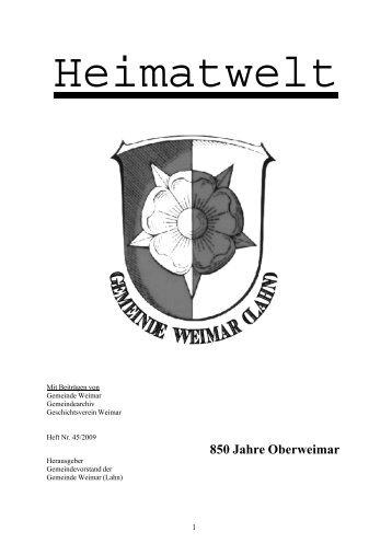 850 Jahre Oberweimar Grußwort - Gemeinde Weimar