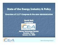 State of the Energy Industry & Policy - Consumer Energy Alliance