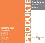 Produkt- und Preisübersicht - Geologischer Dienst NRW