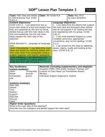 siop lesson plan example