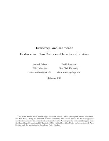 Democracy, War, and Wealth Evidence from Two ... - Thomas Piketty