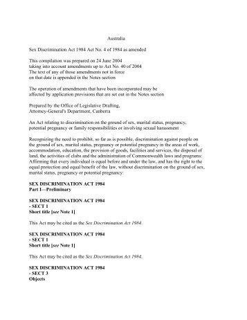 Amendments to the sex discrimination act