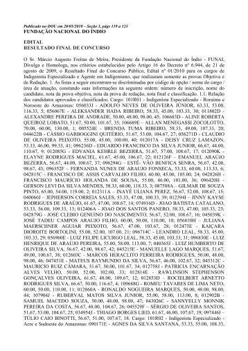 FUNDAÇÃO NACIONAL DO ÍNDIO EDITAL RESULTADO ... - Funai