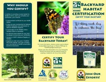 Backyard habitat certification - City of Annapolis
