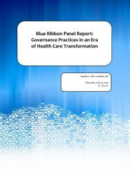Governance Practices in an Era of Health Care Transformation