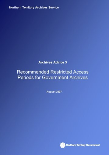 Recommended Restricted Access Periods for Government Archives