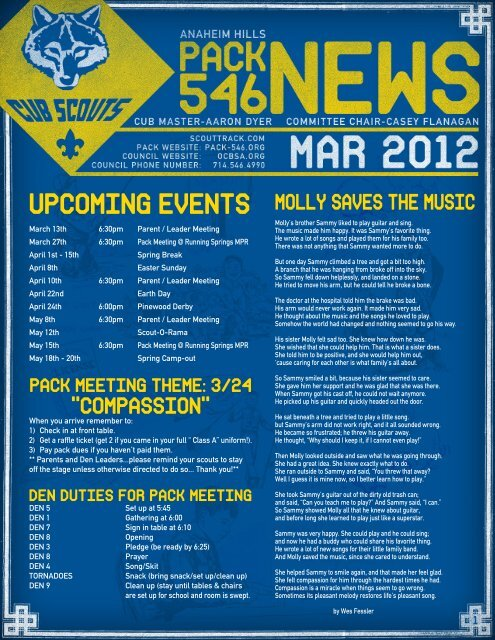 UPCOMING EVENTS - Anaheim Hills Cub Scout Pack 546