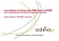 Les actions en faveur des PME dans le FP7 - Agropolis International