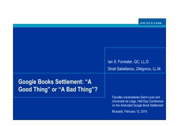 Slides I Forrester - GBS - A Good Thing or a Bad Thing