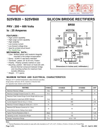 S25VB20 ~ S25VB60 SILICON BRIDGE RECTIFIERS