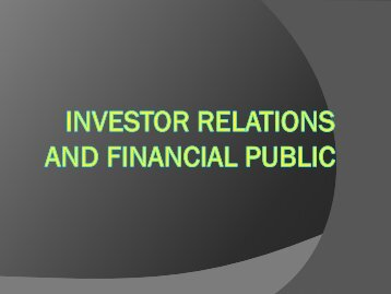 Investor Relations and Financial Public