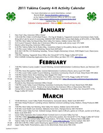 2011 Calendar of Events - Yakima County