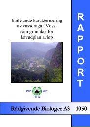 Innleiande karakterisering av vassdraga i Voss, som grunnlag for ...