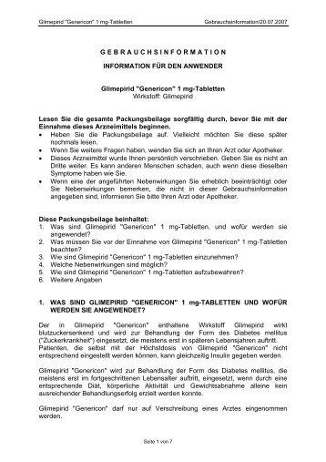 1 mg-Tabletten Wirkstoff - Genericon Pharma GesmbH
