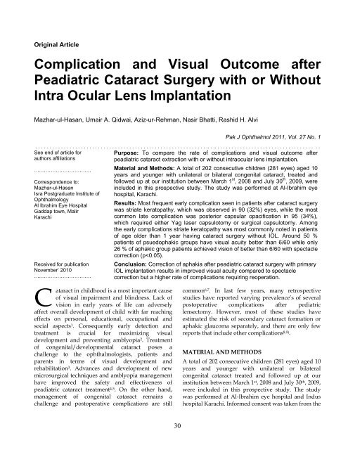 Complication And Visual Outcome After Peadiatric Cataract Surgery