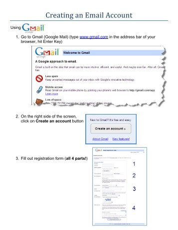 Creating an E-mail Account in Google