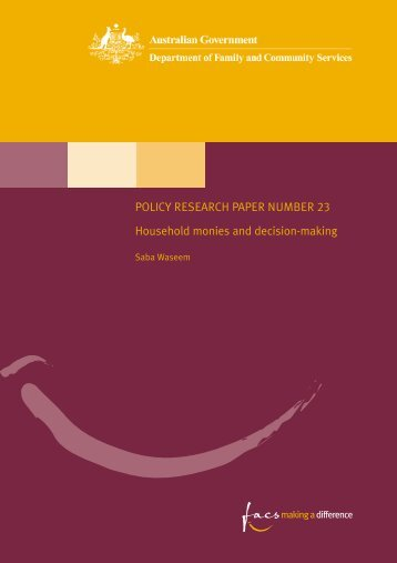 Household monies and decision-making (PDF) - Social Policy ...