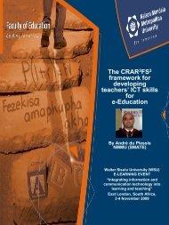 The CRAR 3 FS 2 framework for developing teachers - Nelson ...