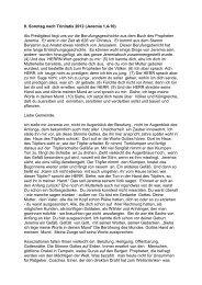 9. Sonntag nach Trinitatis 2012 (Jeremia 1,4-10) Als Predigttext liegt ...