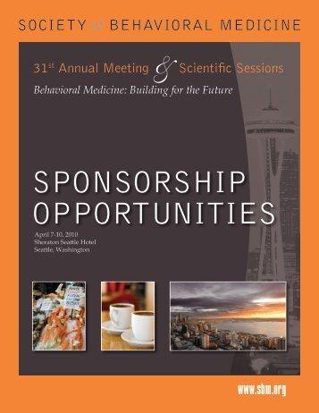 SPONSORSHIP OPPORTUNITIES - Society of Behavioral Medicine