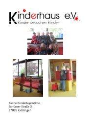 Kleine Kindertagesstätte Sertürner Straße 3 37085 ... - Kinderhaus e.V.