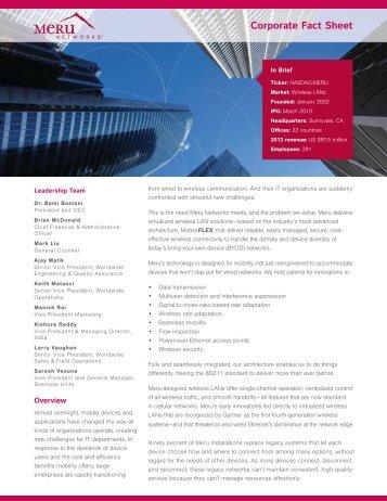 Corporate Brochure - Meru Networks