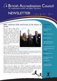 NEWSLETTER British Accreditation Council - BAC