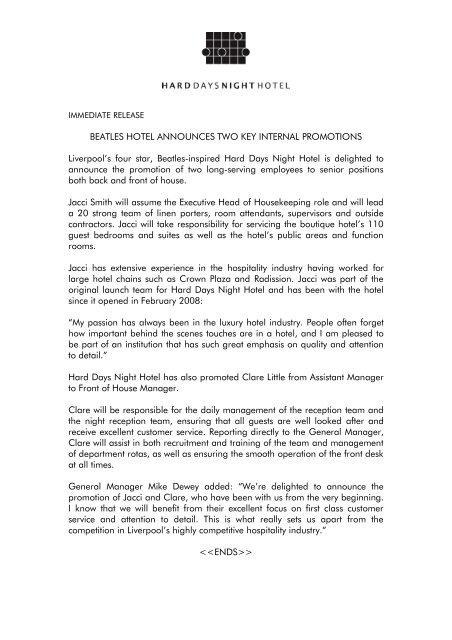 Hard Days Night_promotions pdf - Hard Days Night Hotel