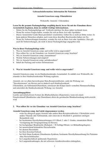 Information für Patienten Atenolol Genericon comp. Filmtabletten ...