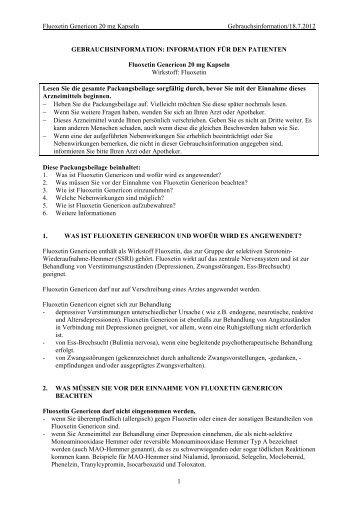 Fluoxetin Genericon 20 mg Kapseln ... - Genericon Pharma GesmbH