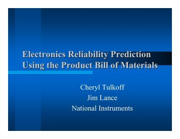 Electronics Reliability Prediction Using the Product Bill of ... - SMTA