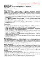 MASTER DI II LIVELLO MUSEALIZZAZIONE, TUTELA E ...