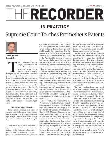 Supreme Court Torches Prometheus Patents - Ropes & Gray