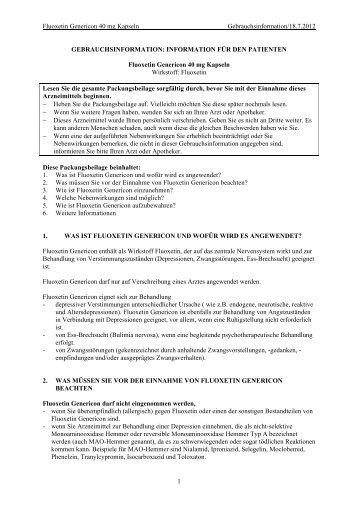 Fluoxetin Genericon 40 mg Kapseln ... - Genericon Pharma GesmbH
