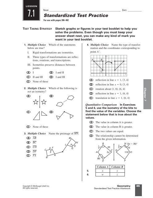 Rigid Motion In A Plane Worksheet