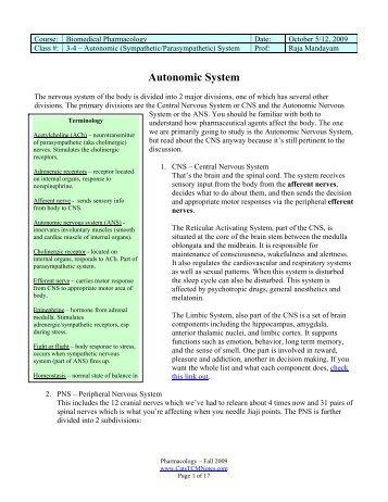 Pharmacology Class 3-4 - autonomic nervous ... - CatsTCMNotes