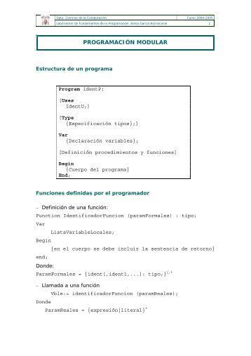 PROGRAMACIÓN MODULAR - Departamento de Ciencias de la ...