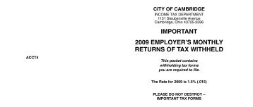 important 2009 employer's monthly returns of tax withheld