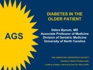 DIABETES IN THE OLDER PATIENT - American Geriatrics Society